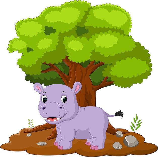 Ippopotami di cartone animato nella giungla
