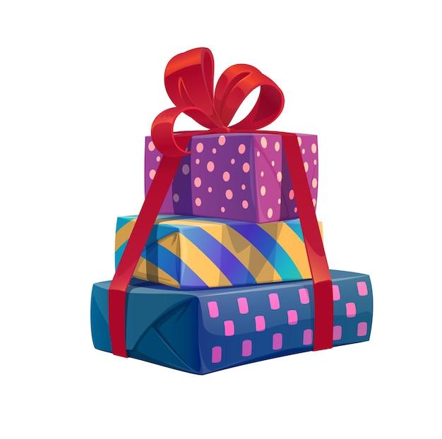 Pila di regali di festa dei cartoni animati, mucchio di regali