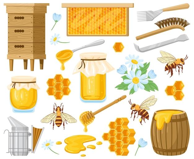 Miele di cartone animato. elementi di apicoltura, favi, alveare, api e miele nel set di barattoli di vetro