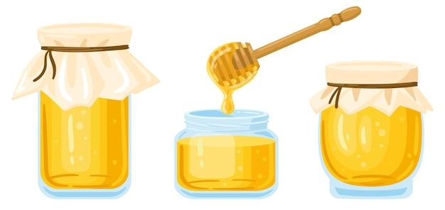 Vasetti di miele dei cartoni animati. vasi di vetro e cucchiaio di legno con miele liquido gocciolante isolato