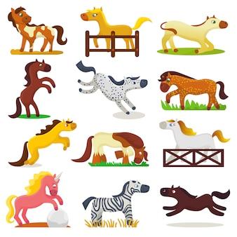 Cartone animato cavallo vettore simpatico animale di allevamento di cavalli o bambini equestri e cavallo o stallone equino illustrazione infantile animalesco insieme di cavalli