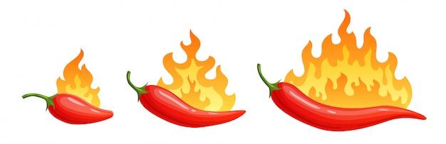 Peperoncini cartoon. pepe piccante con fiamme di fuoco e fiamme icone di peperoncino rosso impostate