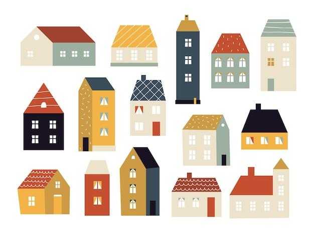 Case dei cartoni animati. set di varie piccole case carine