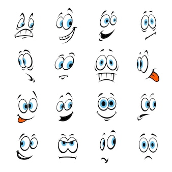 Cartoon occhi umani felici, sorridenti, arrabbiati, spaventati, scioccati. vector emoji di risate, tristezza paura sorpresa