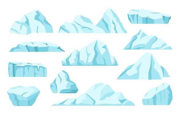 Cartoon iceberg rocce di ghiaccio artico ghiacciai antartici polo nord congelato montagna ghiacciata insieme vettoriale