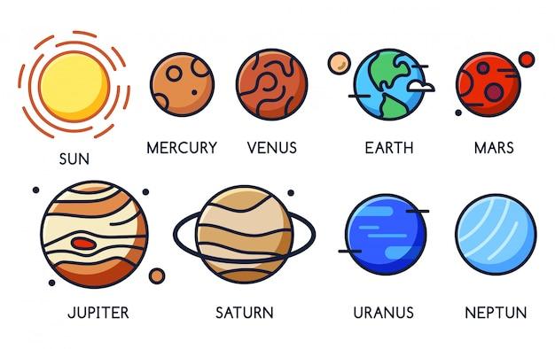 Icone del fumetto dei pianeti del sistema solare con nomi