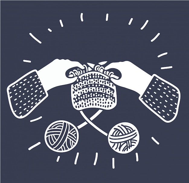 Illustation del fumetto di lavoro a maglia mani umane con aghi. filato di lana a due matasse. workshop, lezioni, hobby, artigianato. concetto grafico di stile moderno contorno bianco e nero su sfondo scuro.