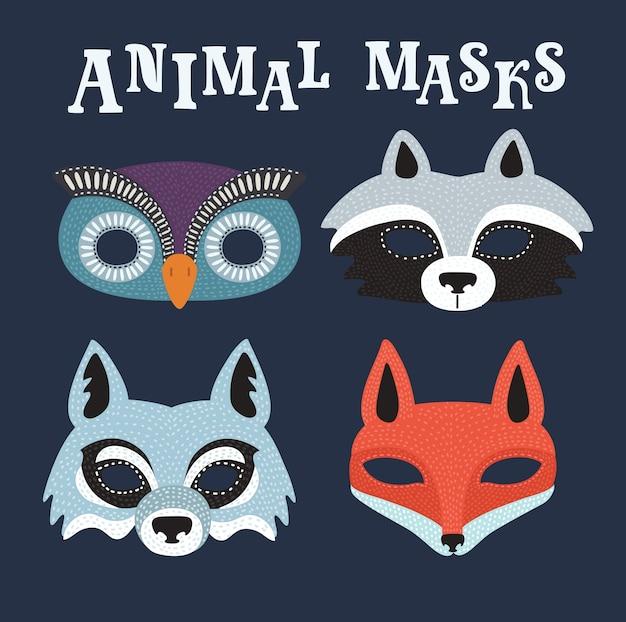 Illustation del fumetto di set di maschere di partito di animali del fumetto. lupo, tasso, gufo, volpe