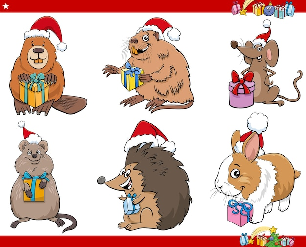 Illustrazione del fumetto di personaggi animali sul set del tempo di natale