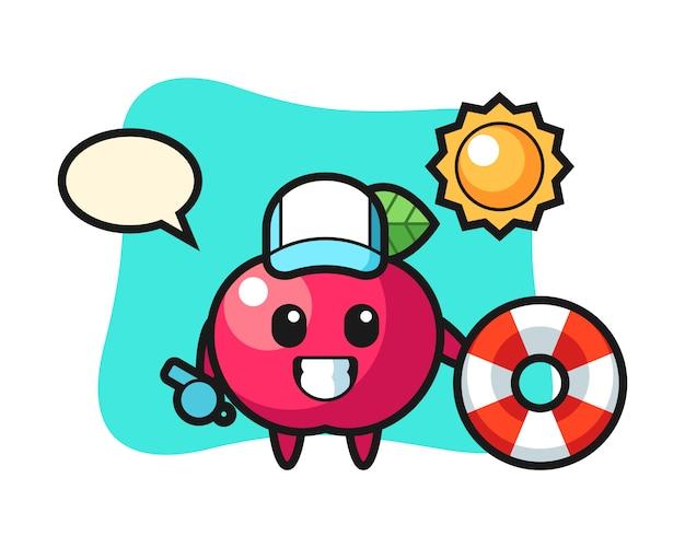 Illustrazione del fumetto della mela come guardia della spiaggia