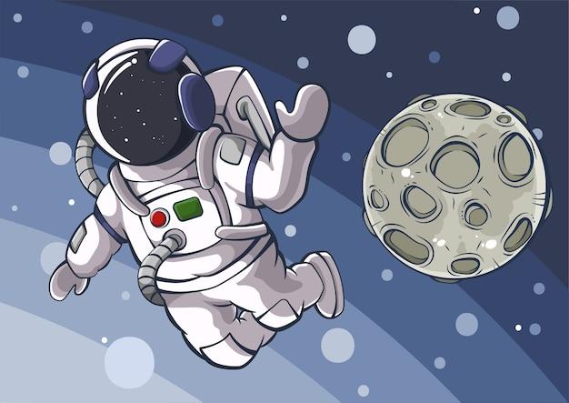 Fumetto illustrazione dell'astronauta e della luna nello spazio