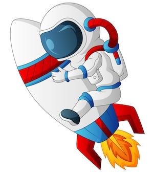 Illustrazione del fumetto dell'astronauta che cavalca un razzo