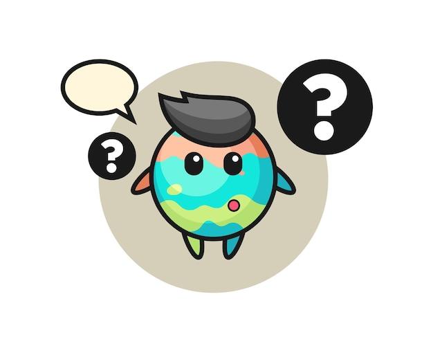 Illustrazione del fumetto della bomba da bagno con il punto interrogativo, design in stile carino per maglietta, adesivo, elemento logo