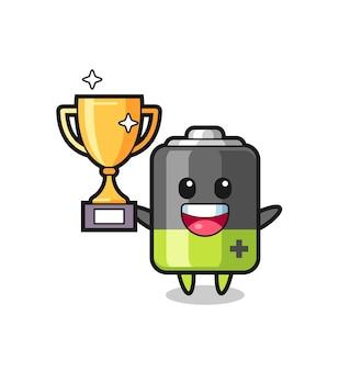 L'illustrazione del fumetto della batteria è felice di tenere in mano il trofeo d'oro, il design in stile carino per la maglietta, l'adesivo, l'elemento del logo
