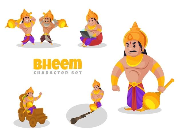 Fumetto illustrazione del set di caratteri bheem