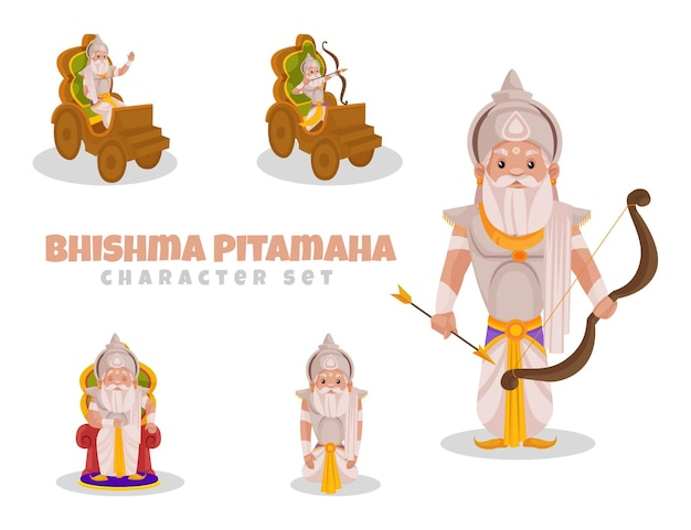 Fumetto illustrazione di bhishma pitamaha set di caratteri