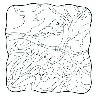 Cartoon illustrazione uccello sull'albero libro o pagina per bambini in bianco e nero