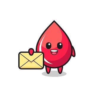 Cartoon illustrazione della goccia di sangue che tiene una lettera gialla, design in stile carino per maglietta, adesivo, elemento logo
