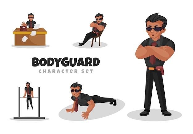 Fumetto illustrazione del set di caratteri di guardia del corpo