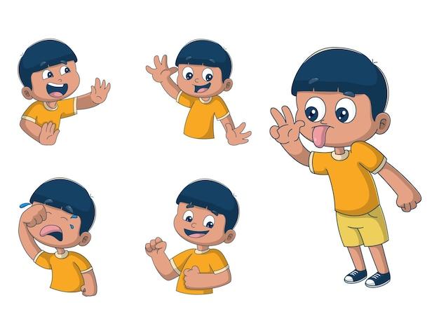 Fumetto illustrazione del ragazzo adesivo insieme