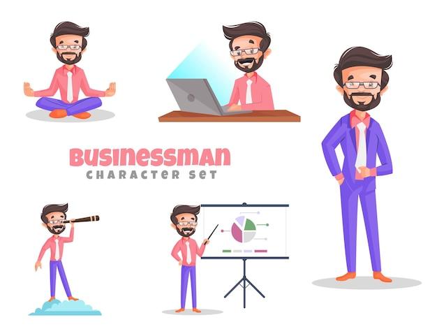 Illustrazione del fumetto del set di caratteri dell'uomo d'affari