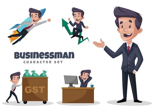 Illustrazione del fumetto dell'uomo d'affari character set