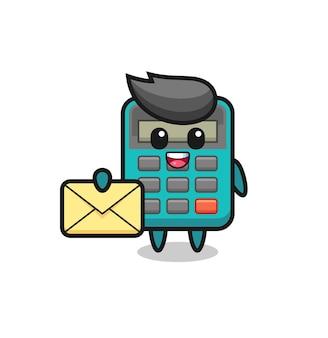 Illustrazione del fumetto della calcolatrice che tiene una lettera gialla, design in stile carino per maglietta, adesivo, elemento logo