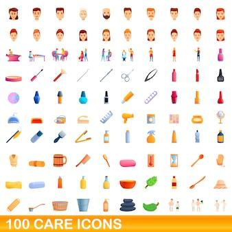 Illustrazione del fumetto di set di icone di cura isolato su bianco