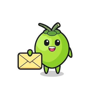 Cartoon illustrazione di cocco con in mano una lettera gialla