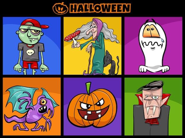 Illustrazione del fumetto del set di personaggi comici di halloween