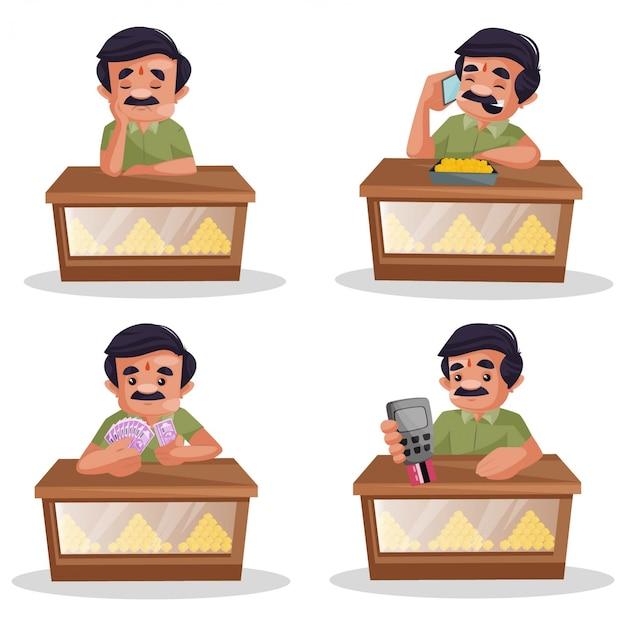 Fumetto illustrazione del set di caratteri pasticcere