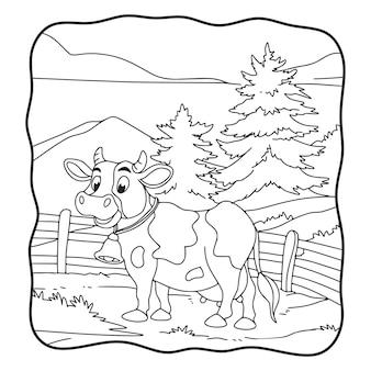 Illustrazione del fumetto la mucca è nel libro o nella pagina del prato per i bambini in bianco e nero