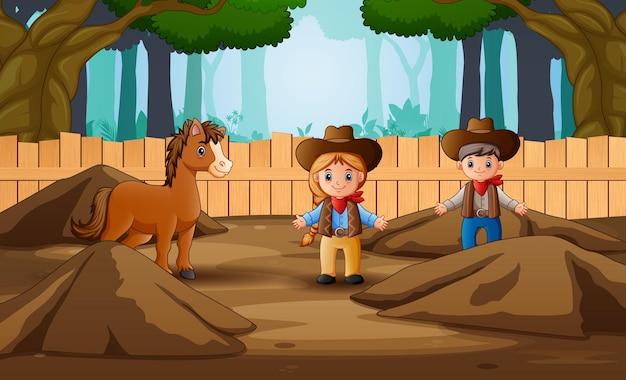Illustrazione del fumetto di cowboy e cowgirl nella fattoria con un cavallo