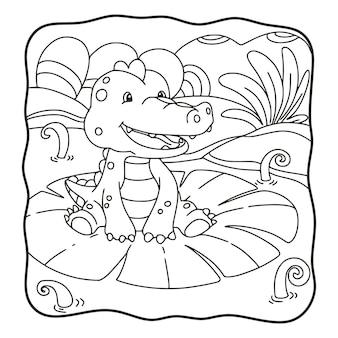 Coccodrillo dell'illustrazione del fumetto che si siede sul libro da colorare o sulla pagina del fiore di loto per i bambini in bianco e nero