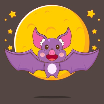 Cartone animato, illustrazione, di, carino, pipistrello, volare, davanti, grande, moon