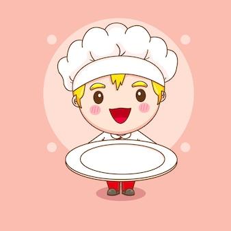 Illustrazione del fumetto del carattere sveglio del cuoco unico che tiene il piatto