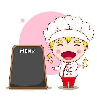 Cartoon illustrazione del simpatico personaggio chef con scheda menu
