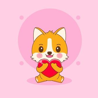 Illustrazione del fumetto del simpatico personaggio di cane corgi che abbraccia il cuore d'amore