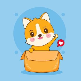 Illustrazione del fumetto del simpatico personaggio di cane corgi che gioca all'interno della scatola