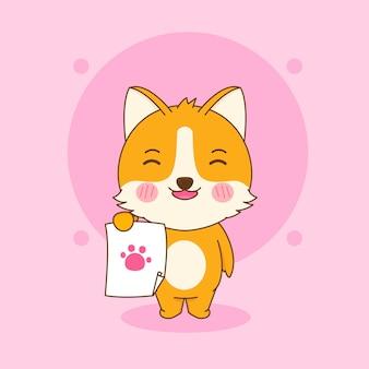 Cartoon illustrazione del simpatico personaggio di cane corgi che firma su carta