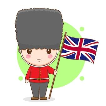Cartoon illustrazione di carino regine inglesi guardia carattere tenendo la bandiera