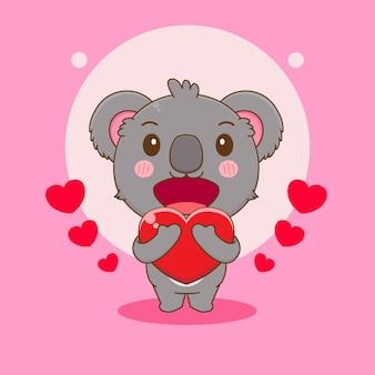 Cartone animato, illustrazione, di, carino, koala, orso, carattere, presa a terra, love