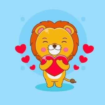 Cartoon illustrazione del simpatico personaggio leone che abbraccia il cuore d'amore