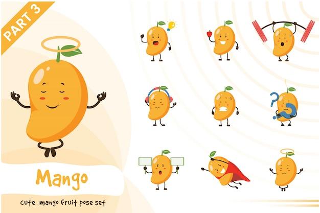 Fumetto illustrazione del simpatico set di frutta mango
