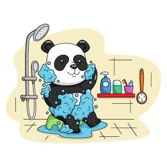 Cartoon illustrazione di un simpatico panda che fa il bagno