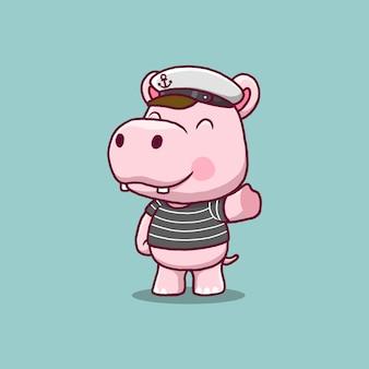 Illustrazione del fumetto di ippopotamo marinaio carino