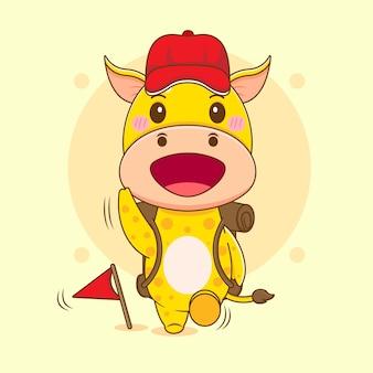 Cartoon illustrazione del simpatico personaggio giraffa scout