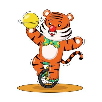 Cartoon illustrazione del simpatico pagliaccio tigre