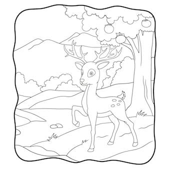 Cervo dell'illustrazione del fumetto che cammina nel libro o nella pagina della foresta per i bambini in bianco e nero
