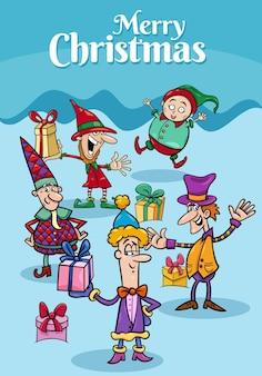 Disegno dell'illustrazione del fumetto o biglietto di auguri con personaggi di elfi nel periodo natalizio